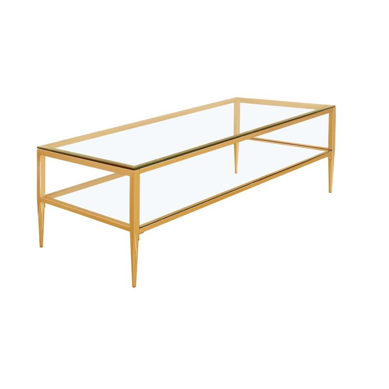 Furniture of america venzini metal coffee table in gold idf 4162gl c Gold metal coffee table