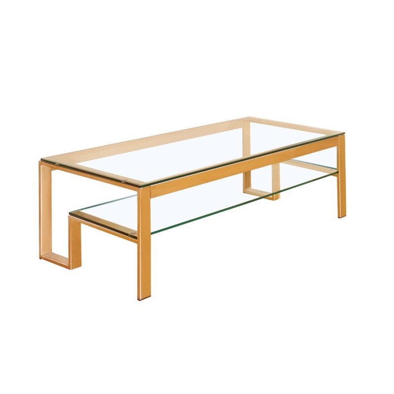 Furniture of america ayetti metal coffee table in gold idf 4163gl c Gold metal coffee table
