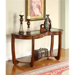 Furniture of America Tunton Curved Console Table in Dark Cherry