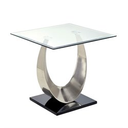 Furniture of America Suse Square End Table in Satin Plated