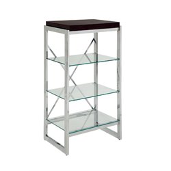 Furniture of America Ruptin 4 Shelf Metal Bookcase in Chrome