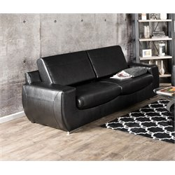 Furniture of America Hartley Leather Sofa in Black