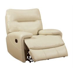 Furniture of America Newell Faux Leather Recliner in Ivory