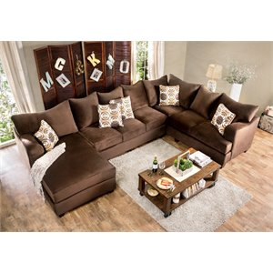 Furniture of America Poirier Fabric Sectional in..