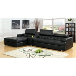 Furniture of America Contreras 2 Piece Leather Sectional in Black