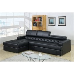 Furniture of America Contreras Tufted Leather Sectional in Black