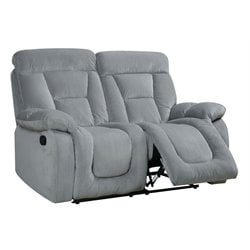 Furniture of America Boyce Fabric Reclining Loveseat in Gray