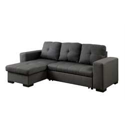Furniture of America Covington Fabric Convertible Sectional in Gray