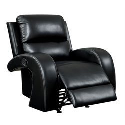 Furniture of America Werner Faux Leather Recliner in Black