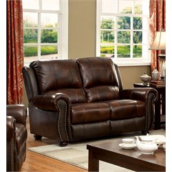 Furniture of America Garry Leather Loveseat in Dark Brown