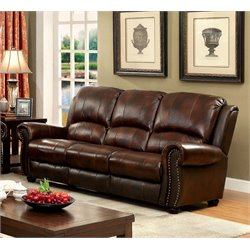 Furniture of America Garry Leather Sofa in Dark Brown