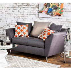 Furniture of America Jamie Fabric Loveseat in Gray