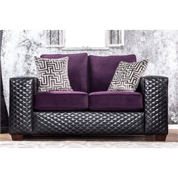 Furniture of America Squires Tufted Faux Leather Loveseat in Purple