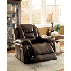 Furniture of America Stamos Faux Leather Recliner in Dark Brown