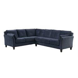 Furniture of America Willa Tufted Fabric Sectional in Navy
