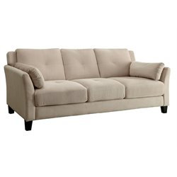 Furniture of America Trevon Tufted Fabric Sofa in Beige