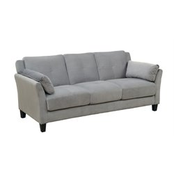 Furniture of America Trevon Tufted Fabric Sofa in Gray