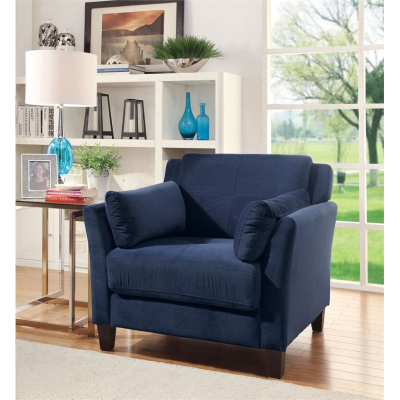 Furniture of America Trevon Tufted Accent Chair in Navy