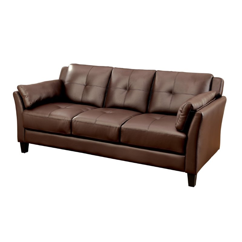 Furniture Of America Tonia Tufted Faux Leather Sofa In Brown Idf 6717br Sf