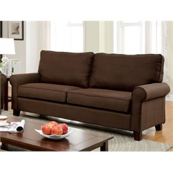 Furniture of America Lancy Fabric Sofa in Brown