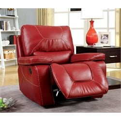 Furniture of America Huskan Leather Glider Recliner in Red