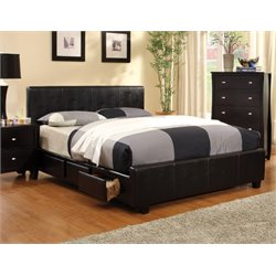 Furniture of America Esquivel King Leather Storage Platform Bed
