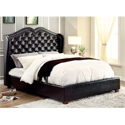 Furniture of America Harla Queen Tufted Leather Bed in Black