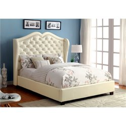 Furniture of America Harla California King Tufted Leather Bed in Ivory