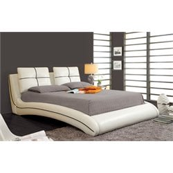 Furniture of America Willa King Upholstered Leather Platform Bed