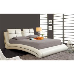 Furniture of America Willa Queen Upholstered Leather Platform Bed