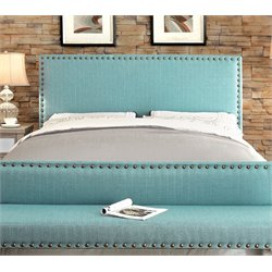 Furniture of America Manetta Full Queen Upholstered Headboard in Blue