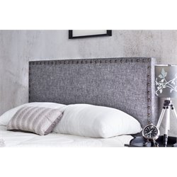 Furniture of America Manetta Full Queen Upholstered Headboard in Gray