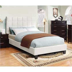 Furniture of America Hellan Queen Upholstered Platform Bed in Ivory
