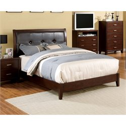 Furniture of America Realm King Platform Panel Bed in Brown Cherry