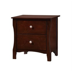Furniture of America Chase 2 Drawer Nightstand in Brown Cherry