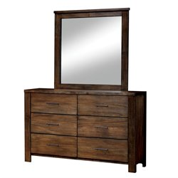 Furniture of America Gilbert Dresser and Mirror Set in Oak