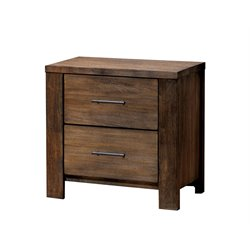 Furniture of America Gilbert 2 Drawer Nightstand in Oak
