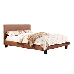 Furniture of America Charlie Queen Platform Panel Bed in Camel