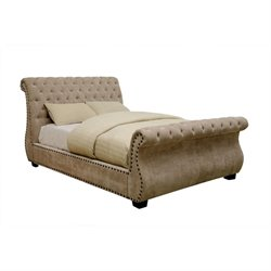 Moira Tufted Sleigh Bed in Mocha