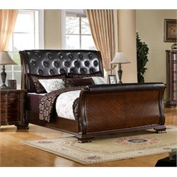 Furniture of America Cheston Queen Tufted Leather Sleigh Bed