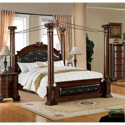 Furniture of America Harrington King Poster Canopy Bed in Brown Cherry