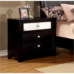 Furniture of America Lillianne 3 Drawer Nightstand in Black