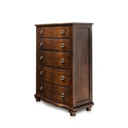 Furniture of America Marcella 5 Drawer Chest in Brown Cherry