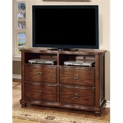 Furniture of America Marcella 4 Drawer Media Chest in Brown Cherry