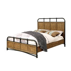 Furniture of America Calvin King Metal Platform Bed in Dark Oak