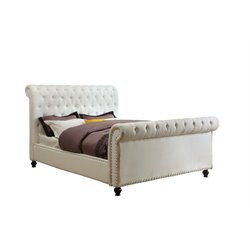 Furniture of America Selina King Upholstered Leather Sleigh Bed