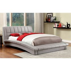 Furniture of America Nimara Queen Upholstered Leather Platform Bed