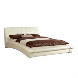 Furniture of America Nimara Full Upholstered Leather Platform Bed
