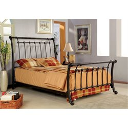 Furniture of America Liza Full Metal Sleigh Bed in Brushed Bronze
