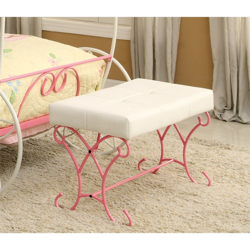 Furniture Of America Heiress Kids Bedroom Bench In Pink And White Idf 7705bn
